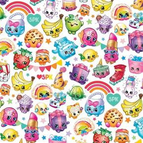 Shopkins Packed Rainbow Celebration Characters White Cotton Fabric
