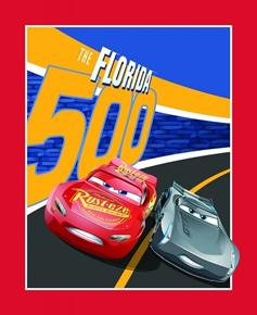 Disney Cars 3 The Florida 500 Large Cotton Fabric Panel