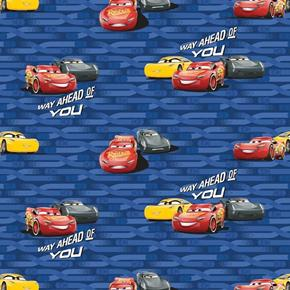 Disney Cars McQueen and Cruz Way Ahead of You Blue Cotton Fabric