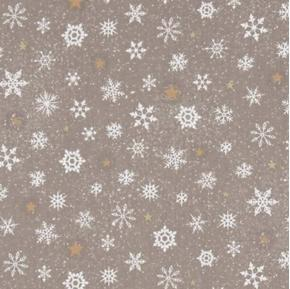 Woodland Wonder Snowflake Winter Snowflakes Dark Khaki Cotton Fabric