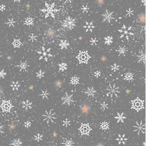 Woodland Wonder Snowflake Winter Snowflakes Dark Grey Cotton Fabric