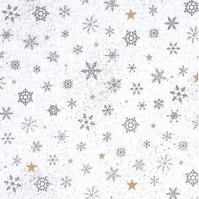 Woodland Wonder Snowflake Winter Snowflakes White Cotton Fabric