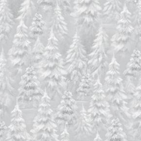 Picture of Woodland Wonder Tree Blender Snowy Trees Light Grey Cotton Fabric
