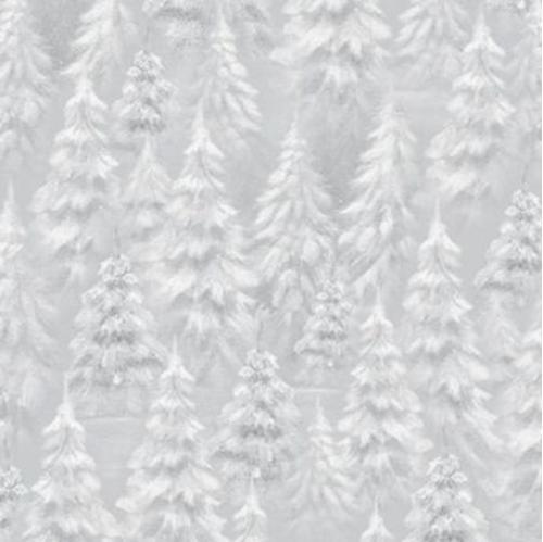 Woodland Wonder Tree Blender Snowy Trees Light Grey Cotton Fabric