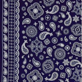 Cowboy Bandanas Bandana Pattern Blue Cotton Fabric