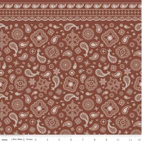 Cowboy Bandanas Bandana Pattern Brown Cotton Fabric
