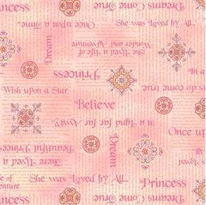 Royal Princess Phrases Dreams Do Come True Pink Cotton Fabric