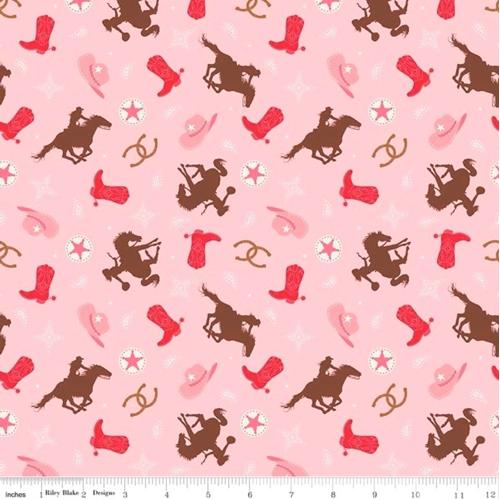 Cowgirl Toss Boots Hats Horseshoes Horseback Riding Pink Cotton Fabric