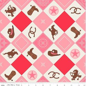 Cowgirl Riding Equipment Squares Boots Hats Horseshoes Cotton Fabric
