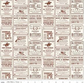 Picture of Cowboy Ads Vintage Advertisements Cream Cotton Fabric