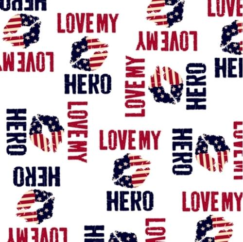 Picture of Love My Hero Patriotic Words and Kisses White Cotton Fabric