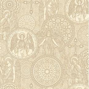 Heavenly Angel Medallions Toile Angels Crosses Beige Cotton Fabric