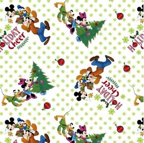 Disney Mickey and Friends Trim the Tree Holiday Cheer Cotton Fabric