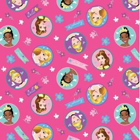 Disney Princess Badge Tiana Belle Rapunzel Hot Pink Cotton Fabric