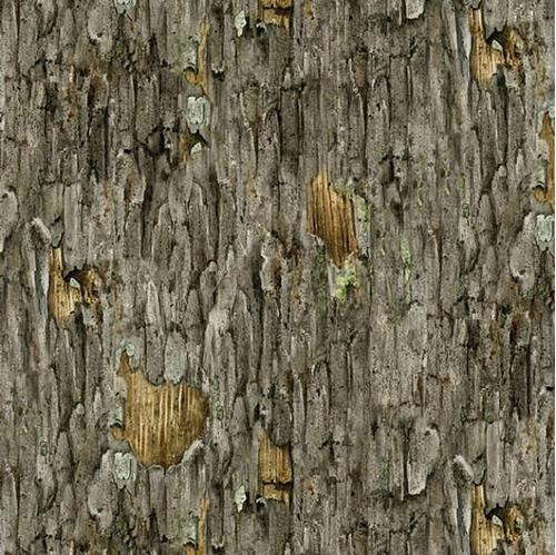 Hoo's Tree Grey and Brown Rough Tree Bark Cotton Fabric