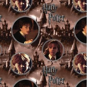 Harry Potter Character Cameos Hermione Ron Weasley Sepia Cotton Fabric