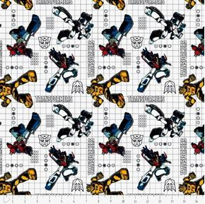 Transformers Autobot Optimus Bumblebee Dot White Grid Cotton Fabric
