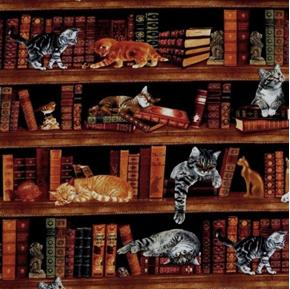Picture of Cats in the Library Kittens and Books 24x22 Cotton Fabric