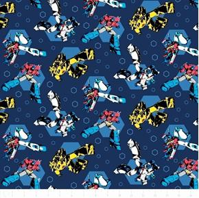 Picture of Flannel Transformers Optimus Bumbleebee Hexagon Dk Blue Cotton Fabric