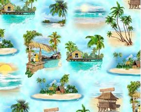 Margaritaville Island Vignettes Tiki Bar Grass Huts Cotton Fabric