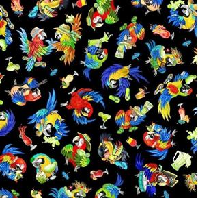 Margaritaville Parrots Jimmy Buffet Style Black Cotton Fabric