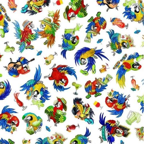 Picture of Margaritaville Parrots Jimmy Buffet Style White Cotton Fabric