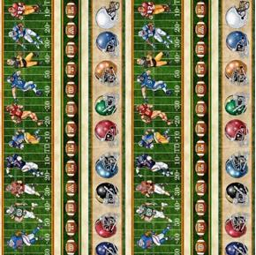 Gridiron Football Decorative Stripe Players Balls Helmet Cotton Fabric