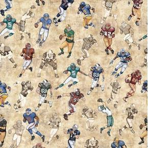 Picture of Gridiron Football Players in Action Natural Beige Cotton Fabric