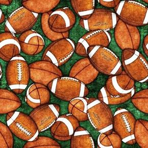 Gridiron Football Tossed Footballs on Green Cotton Fabric