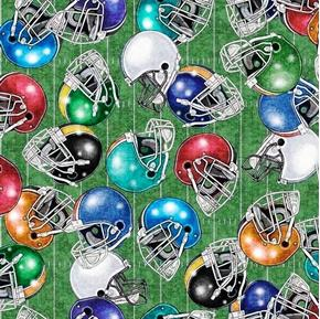 Picture of Gridiron Football Helmets Tossed on Green Field Grids Cotton Fabric