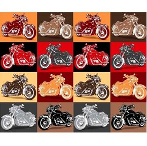 Picture of Biker For Life Motorcycle Patches in Brown and Red Cotton Fabric