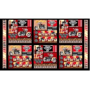 Picture of Biker For Life Patches Motorcycle Block 24x44 Cotton Fabric Panel