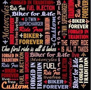 Biker For Life Biker Lingo Motorcycle Ride Free Black Cotton Fabric
