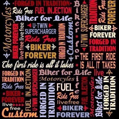 Biker For Life Biker Lingo Motorcycle Ride Free Black Cotton Fabric