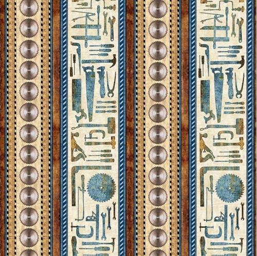 Craftsman Tools Decorative Stripe Hammer Saw Blade Brown Cotton Fabric
