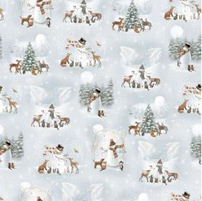 Woodland Friends Vignettes Snowmen Animals Blue Frost Cotton Fabric