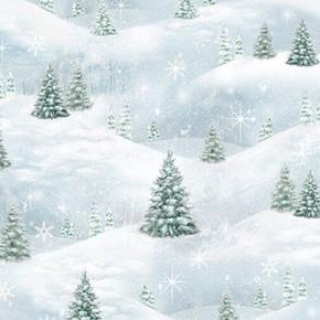 Woodland Friends Pine Tree Scenic Snowy Trees Blue Frost Cotton Fabric