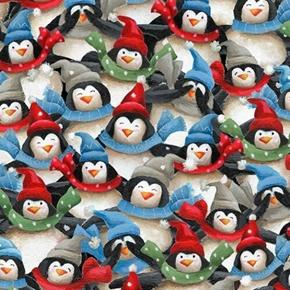 Just Chillin' Packed Penguins Dressed for Winter Cotton Fabric