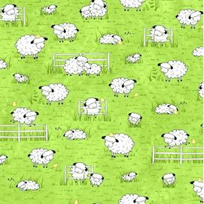 Sheeps and Peeps Grazing Sheep and Chicks on Green Cotton Fabric
