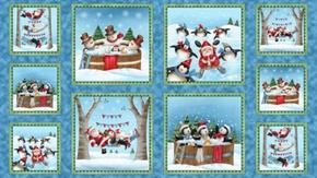 Just Chillin' Picture Patches Santa Snowmen 24x44 Cotton Fabric Panel