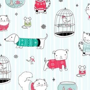Mingle and Jingle Christmas Pets Cat Dog Bird Winter Cotton Fabric