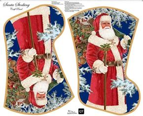 Sew & Go Santa's Stocking Christmas Holiday Cotton Fabric Craft Panel