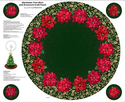 Poinsettia Grandeur Tree Skirt and Ornament Cotton Fabric Craft Panel