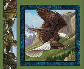Wild Wings Flying High Eagle Landing Cotton Fabric Pillow Panel