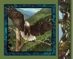 Wild Wings Flying High Eagle Taking Flight Cotton Fabric Pillow Panel