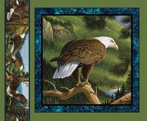 Wild Wings Flying High Eagle Branch Looking Down Fabric Pillow Panel