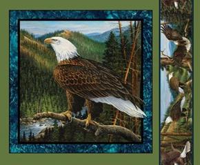 Wild Wings Flying High Eagle Branch Looking Up Fabric Pillow Panel