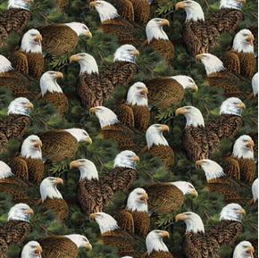 Wild Wings Flying High Eagles Allover Eagle Pine Boughs Cotton Fabric