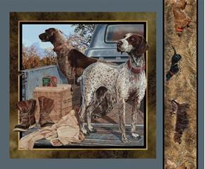 Wild Wings Dog Days 2 Hunting Dogs Looking Left Fabric Pillow Panel