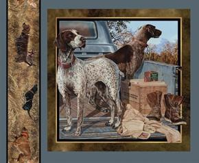 Wild Wings Dog Days 2 Hunting Dogs Looking Right Fabric Pillow Panel